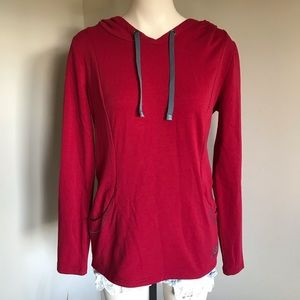 Roots Pullover Hoodie Pockets Red Grey Small